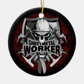 Sheet Metal Worker Skull Round Ceramic Decoration