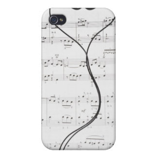 Sheet Music and Headphones iPhone 4 Cases