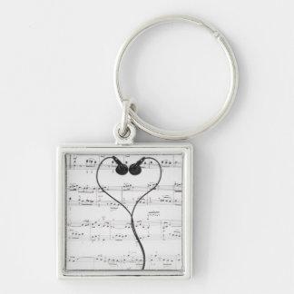 Sheet Music and Headphones Key Ring