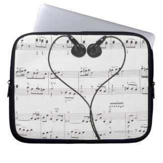 Sheet Music and Headphones Laptop Sleeve