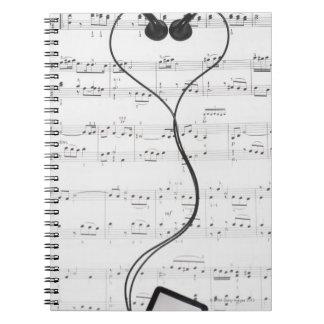 Sheet Music and Headphones Spiral Notebook