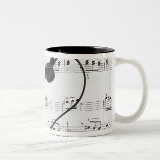 Sheet Music and Headphones Two-Tone Coffee Mug