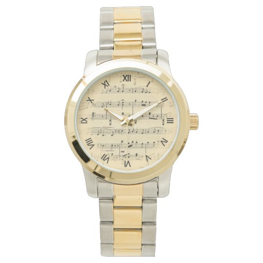 Sheet Music Black Roman Numerals Wrist Watch