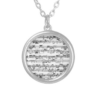 Sheet Music by Bach Round Pendant Necklace