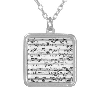 Sheet Music by Bach Square Pendant Necklace