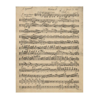 Sheet Music for the Overture to 'Egmont' Wood Print