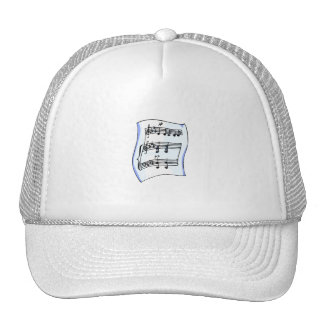 Sheet music graphic image, blue version hats