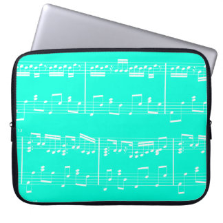 Sheet Music Laptop Case Turquoise