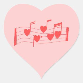 Sheet music made of hearts sticker