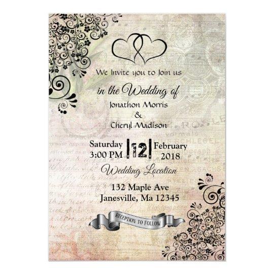 Sheet Music Notes Hearts Wedding Invitations