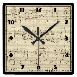 Sheet Music on Parchment Handwritten in Ink Clocks