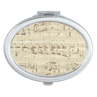 Sheet Music on Parchment Handwritten in Ink Mirror For Makeup