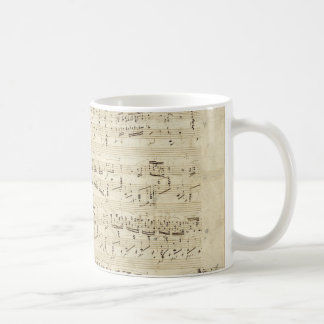 Sheet Music on Parchment Handwritten in Ink Mug