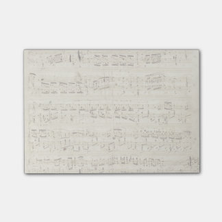 Sheet Music on Parchment Handwritten in Ink Post-it Notes