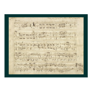Sheet Music on Parchment Handwritten in Ink Postcard