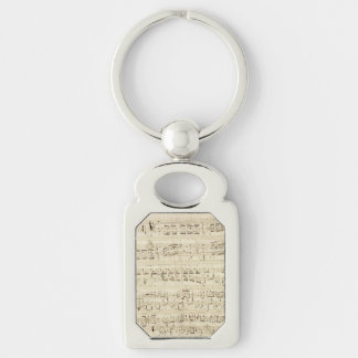 Sheet Music on Parchment Handwritten in Ink Silver-Colored Rectangle Key Ring