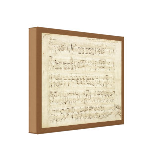 Sheet Music on Parchment Handwritten in Ink Stretched Canvas Print