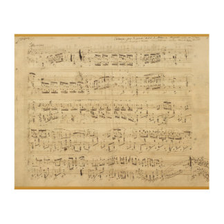 Sheet Music on Parchment Handwritten in Ink Wood Canvases
