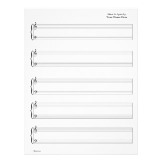 Sheet Music - Piano & Vocal (Write your own music) 21.5 Cm X 28 Cm Flyer