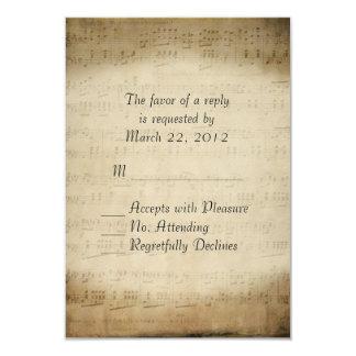 Sheet Music RSVP 9 Cm X 13 Cm Invitation Card