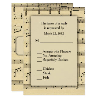 Sheet Music  RSVP with Menu Choices Card