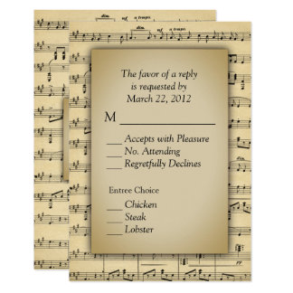 Sheet Music Theme RSVP Cards with Menu Choices