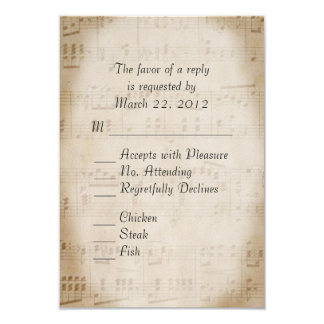 Sheet Music Wedding 9 Cm X 13 Cm Invitation Card