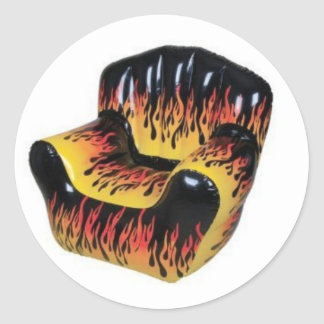 Sheet of 20 FIRE FLAME Blow up chair stickers. Classic Round Sticker