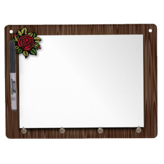 Sheet of paper dry erase board with key ring holder