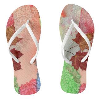 Sheets of autumn flip flops