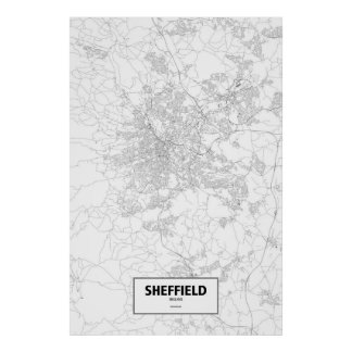Sheffield, England (black on white) Poster