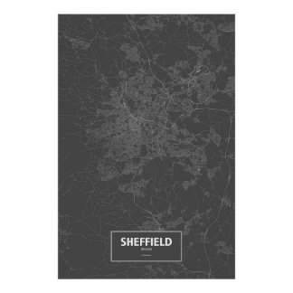 Sheffield, England (white on black) Poster