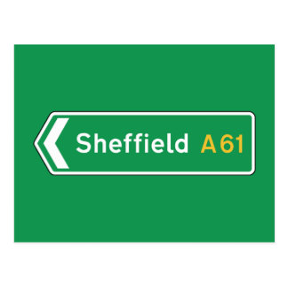 Sheffield, UK Road Sign Postcard