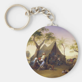 Sheiks Drinking Coffee In Front of A Tent by Josep Basic Round Button Key Ring