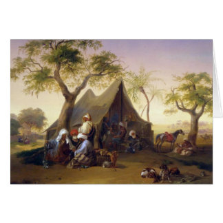 Sheiks Drinking Coffee In Front of A Tent by Josep Greeting Card