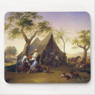 Sheiks Drinking Coffee In Front of A Tent by Josep Mouse Pad