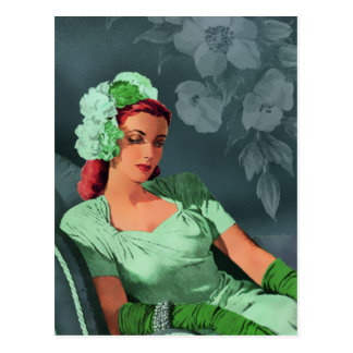 Sheila - 1940s Evening Wear in Green and Teal Postcard