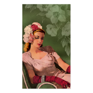 Sheila - 1940s Evening Wear in Pink and Green Pack Of Standard Business Cards