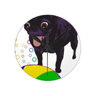 Sheila's Pug - Ball Love Round Clock