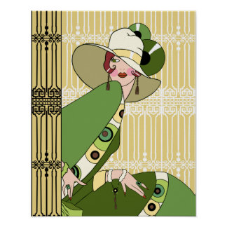 Shelby, 1920s Art Deco Lady in Yellow and Olive Poster