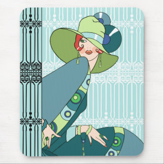 Shelby, 1920s Lady in Aqua and Teal Mouse Mat