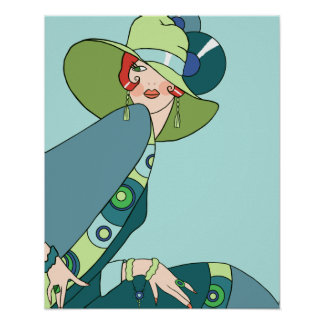 Shelby, 1920s Lady in Aqua and Teal Poster