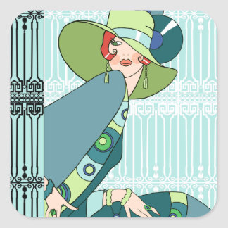 Shelby, 1920s Lady in Aqua and Teal Square Sticker