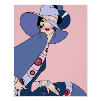 Shelby, 1920s Lady in Pink and Blue Poster