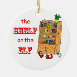Shelf on the Elf Funny Christmas Ornament