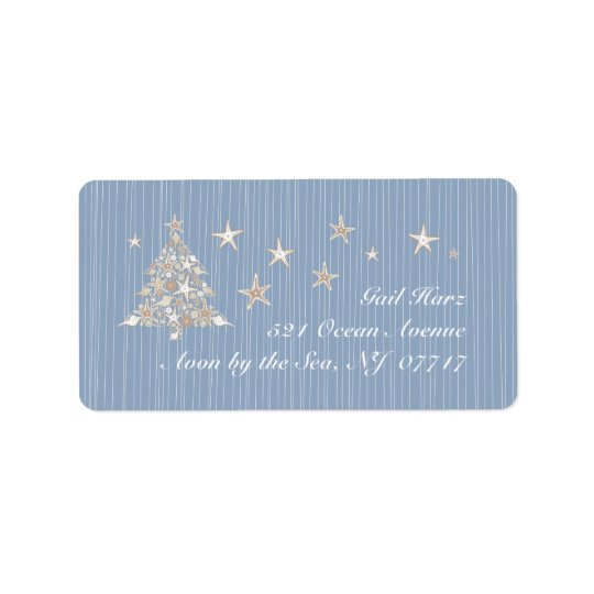Shell Christmas Tree Address Labels
