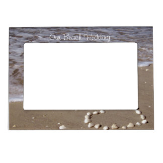 Shell Heart on Sand Beach Magnetic Picture Frame