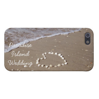 Shell heart on sandy beach cases for iPhone 5