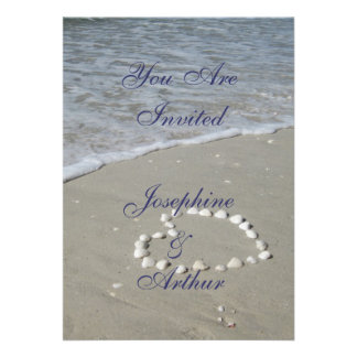 Shell Heart on the Sandy Beach Personalised Invitation