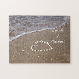 Shell Heart on the Sandy Beach Jigsaw Puzzles